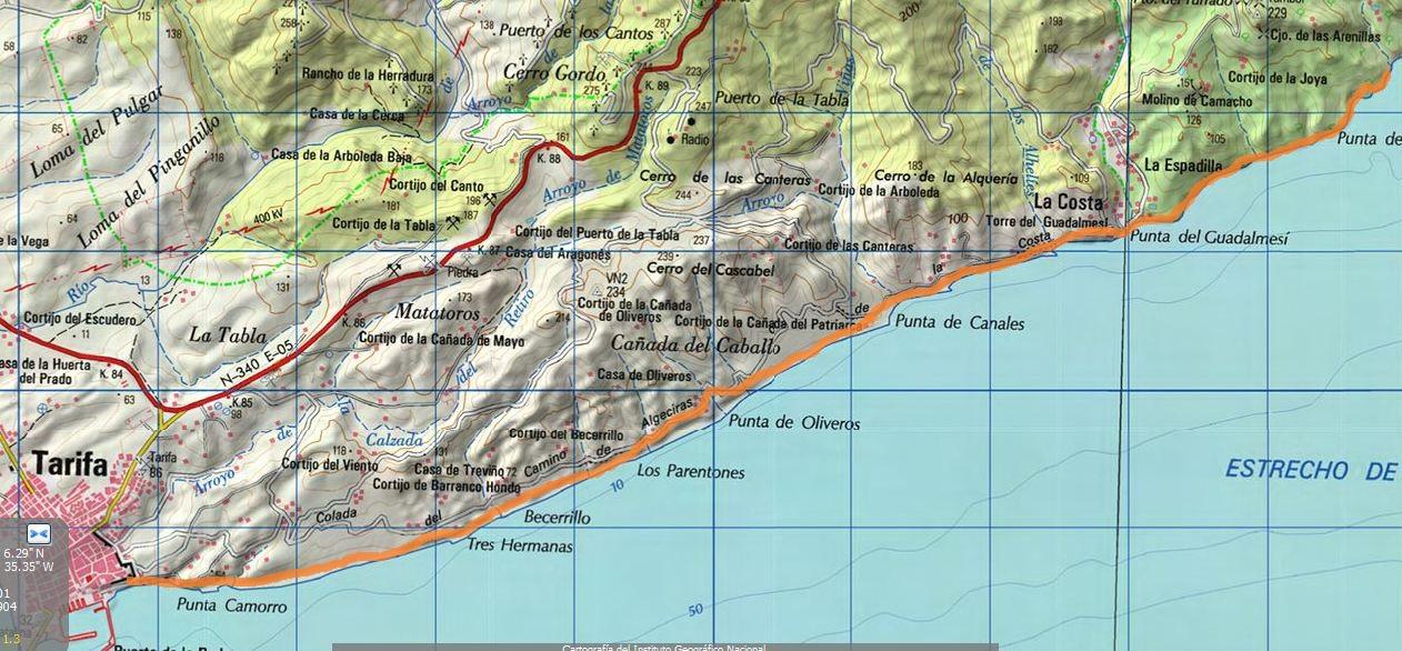 Karte Gibraltar Umgebung.Eine Herrliche Küstenwanderung Tarifa Torre De Guadalmesí